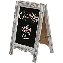 15 inch Rustic Wood A-Frame Double-Sided Chalkboard Easel with Scalloped Bottom, Vintage Gray