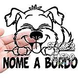 Adesivo per auto cane a bordo con nome dog on board