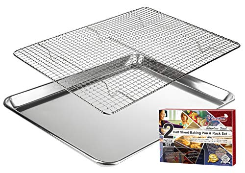 KITCHENATICS Baking Sheet with Cooling Rack: Half Aluminum Cookie Pan Tray with Stainless Steel Wire and Roasting Rack - 13.1