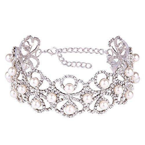 Gabrine Womens Girls Multilayer Hollow Collar Choker Short Necklace Fashion Shiny Rhinestone for Wedding Bridal Party Prom (Rhinestone Collar Party)
