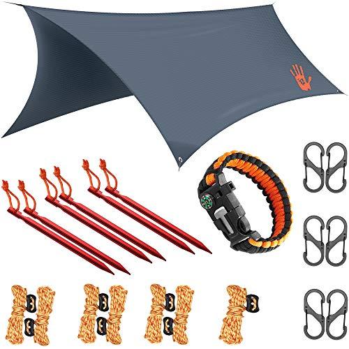 RainFlyEVOLUTION 12 x 10 ft HAMMOCK WATERPROOF RAIN FLY TENT TARP & Survival Bracelet Kit – Lightweight - Backpacker Approved - DIAMOND RIPSTOP NYLON - Perfect Hammock Shelter Sunshade for Camping   (Backpacking Tarp)