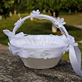 Western-Style Wedding Supplies Bride Hand Flower Basket, Wedding Basket Girl Flower Basket,White Woven Wedding Flower Basket with Lace Flower Ribbon Bowknot,Wedding Props Decor-White,26x22(H) cm
