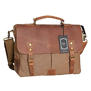 Amazon.com: WOWBOX Messenger Bag Satchel Vintage Canvas Leather 13 ...
