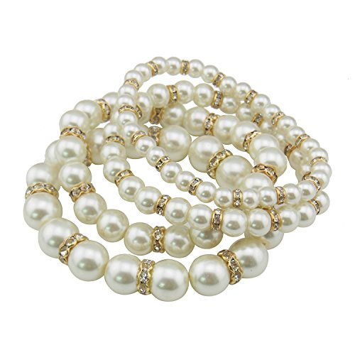 Yellow Faux Pearl - COIRIS 4pcs /Set Multi Layer Imitation Pearl Beads Stretch Bracelets For Women (BR1113-W)