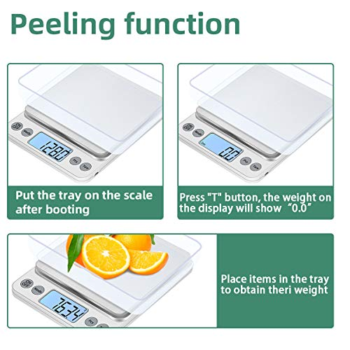 KUBEI Upgraded Larger Size Digital Food Scale Weight Grams and OZ, 5kg/0.1g Kitchen Scale for Cooking Baking, High Precision Electronic Scale with LCD Display