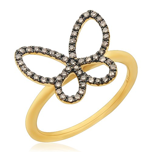 Prism Jewel 0.26 Carat Natural Brown Diamond Butterfly Style Delicate Ring, 14k Yellow Gold, Size 6.5