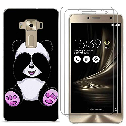 Zenfone 3 Deluxe 5.5 Inch ZS550KL Case with 2 Pack Glass Screen Protector Phone Case for Men Women Girls Clear Soft TPU with Protective Bumper Cover Case for ASUS Zenfone 3 Deluxe ZS550KL-panda