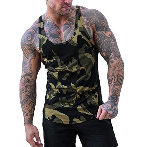 yiqianzhaobiao_Men T-shirt YQZB Men's Stripe line Vest Jacket Lightweight Patchwork Sleeveless Contrast Hoodie Army Green ()