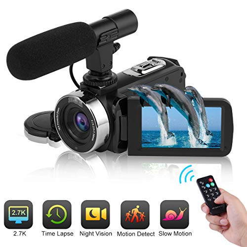Camcorder Full HD 2.7K 30FPS Video Camera IR Night Vision Vlog Camera Supports Time Lapse & Motion Detection YouTube Camera with Remoter