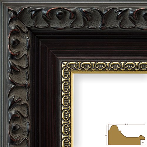 Craig Frames Devereux, 24 by 32-Inch Picture Frame, Antique Brushed Mahogany with Ornate Gold