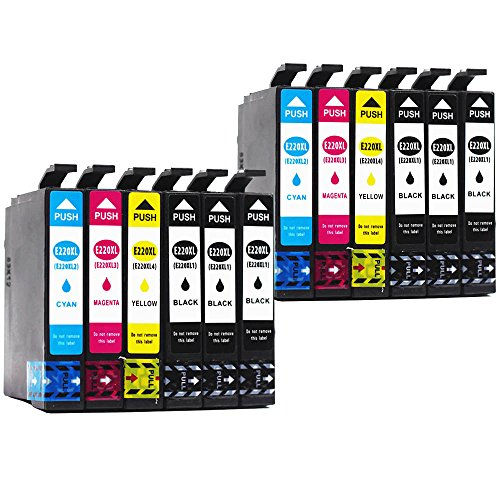 BEFON Remanufactured for Epson 220XL 220 Ink Cartridges High Yield Compatible with Epson XP-420 WF-2760 WF-2630 WF-2650 WF-2660 WF-2750 XP-320 XP-424 Printer 12 Packs(2 Set + 4 Black) by BEFON