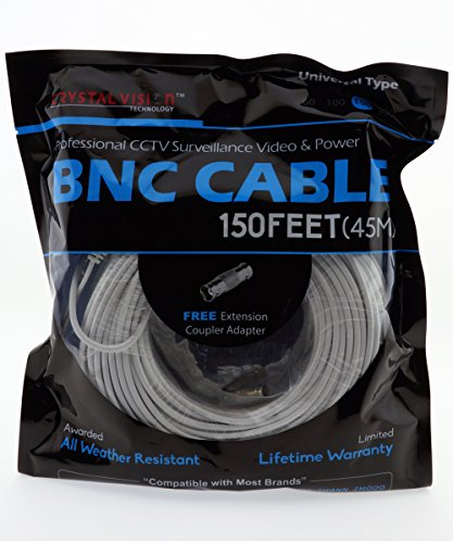 Crystal Vision Premium Video Power BNC Combo Cable for Swann, Q-See, Lorex 720P BNC System w/coupler (150ft) (Qsee Camera Combo)