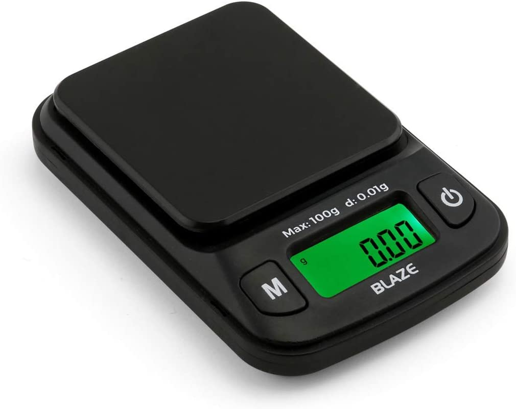 Truweigh - BLAZE Digital Mini Scale - (100g x 0.01g - Black) and Long Lasting Portable Grams Scale - Kitchen Scale - Food Scale - Postal Scale - Herb Scale - Pocket Scale - Small Scale
