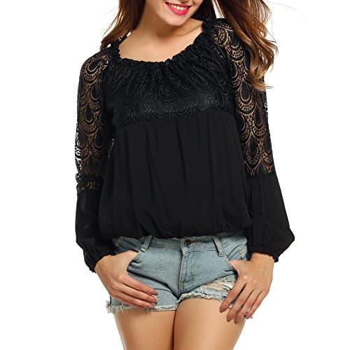 Vero Moda Damen Langarmshirt mit Spitze Damenshirt Shirt Langarmtop Damentop Top