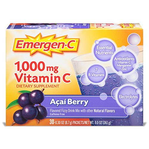 Emergen-C (30 Count, Acai-Berry Flavor, 1 Month Supply) Dietary Supplement Fizzy Drink Mix with 1000mg Vitamin C, 0.30 Ounce Powder Packets, Caffeine Free