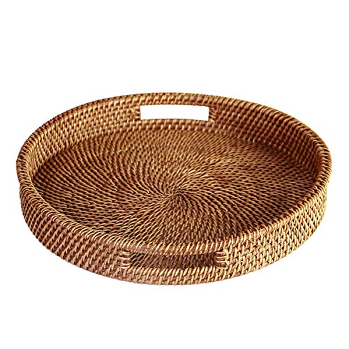 HandyMake Rattan Tray With Handles - Hand Woven Multipurpose Wicker Tray Made With Durable Rattan Fibre (Round 13.5 Inch Diameter, - Oval Acacia Tray Serving