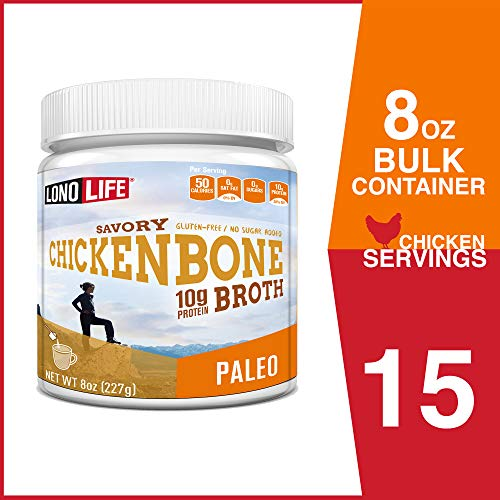 LonoLife Chicken Bone Broth Powder with 10g Protein, Paleo and Keto Friendly, 8-Ounce Bulk Container