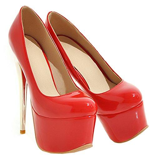 ENMAYER Frauen Rote#18 Lackleder Sexy Plattform Stiletto Super High Heels Runde und Peep Toe Pumps Slip auf Hochzeitskleid Court Schuhe 35 B(M) EU