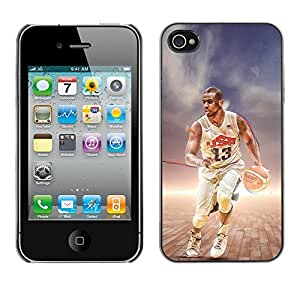 BasketCase Chris Paul Team USA Basketball Apple Iphone 4 / 4S / / Prima Delgada SLIM Casa Carcasa Funda Case Bandera Cover Armor Shell