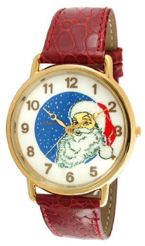 (Trax Santa Claus Big Face Christmas Watch with Glitter and Red Strap)
