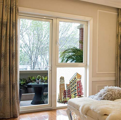 YOLIYANA Ethylene Film Printing Design Window Film,Detroit Decor,Suitable for Kitchen, Bedroom, Living Room,Buildings on Woodward Avenue in Downtown Detroit Artistic,17''x24'' ()
