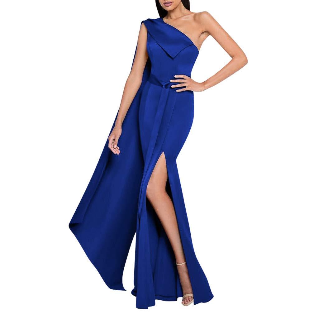 Women Blue Gown Dress One Shoulder High Split Evening Dress Party Prom Cocktail Dress