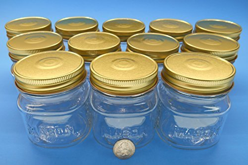 8 oz Square Mason Glass Jar with Gold Finished Safety Button Lids- Regular Mouth (Case of 12)
