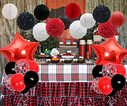 JOYMEMO Red and Black Party Decorations Set with Tissue Paper and Balloons for Minnie Mouse, Lumberjack, Ladybug or Pirate Birthday Party, Baby -