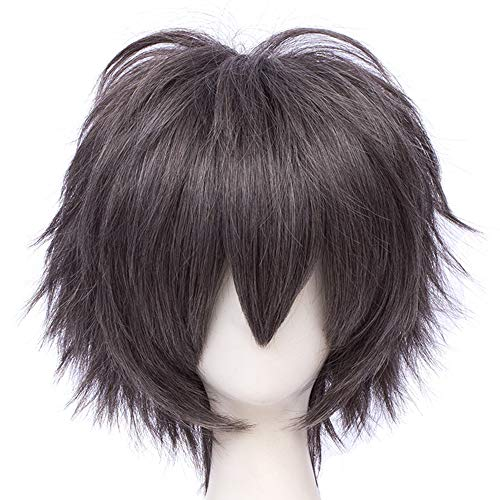 Max Beauty Unisex Anime Short Cosplay Short Wigs With Bangs Heat Resistant Hair for Party and Halloween for Gift + Free Cap (Dark Coffee)