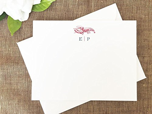 Lobster Personalized Stationary, Maine Note Cards by Lolo Lincoln