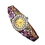 Creazy Women Quartz Luxury Crystal Flower Bracelet Watch (Purple)