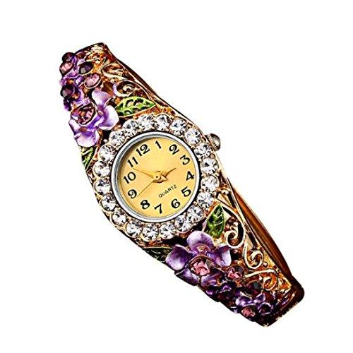 Creazy Women Quartz Luxury Crystal Flower Bracelet Watch (Purple)