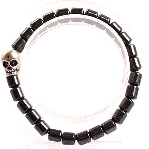 GEM-inside Natural 6X6MM Barrel Magnetic Black Hematite Therapy Bracelets Jewelry for Man Women 7