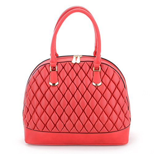 Bag Tote Womens Quilted Handbag Leather and Look RED Padded 4XxwIBSq