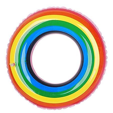 WINPOST Anillo Inflable Flotante Colorido Que Nada La Boya De Anillo Inflable Inflable para Los Adolescentes y Los Adultos Juguete del Agua 60-120CM Verano 60CM