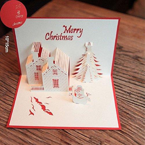 10Pcs Christmas Castle 3D Laser Cut Pop Up Paper Handmade Custom Greeting Cards Xmas Gifts