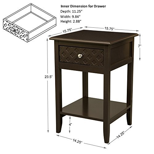 Glitzhome Modern Shape X Side Table Home Mother's Day Gift Furniture Night Stand With Drawer (coffee)