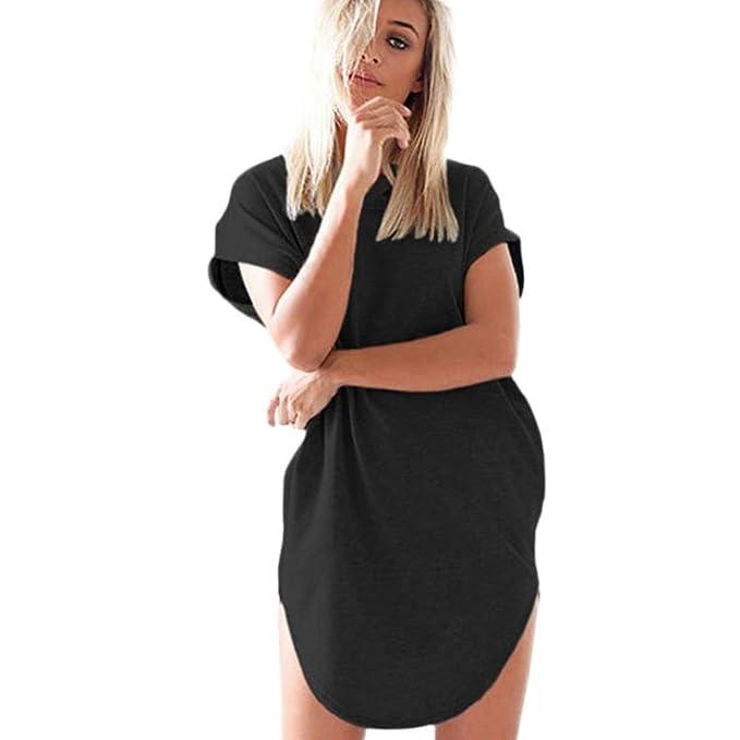83bef25ebd5e Damen Kleid Frauen Hülsen-Lose Einfache Maxi Kleidet beiläufige Lange T- Shirt Kleid mit