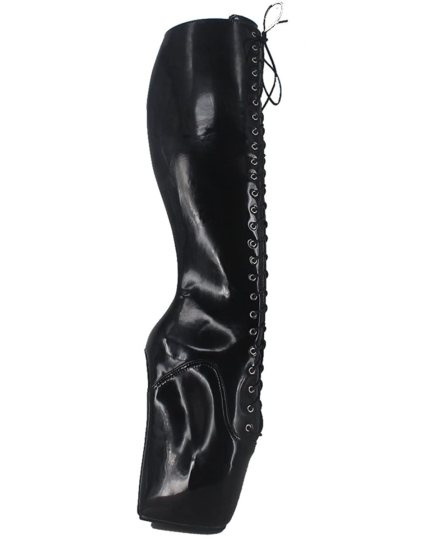 "Wonderheel 7"" wedge patent black fetish knee high boots lace up ballet shoes"