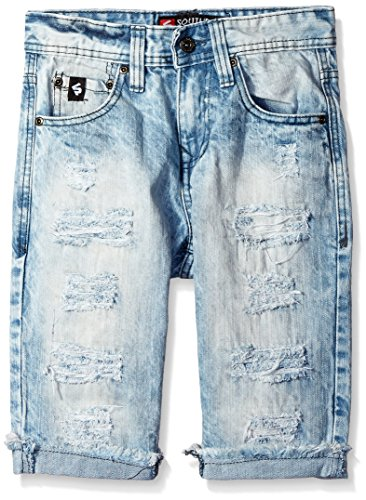 Southpole Big Boys' Washed Denim Shorts with Ripped Details, Light Sand Blue, 18 (Boys Denim Jean Shorts)