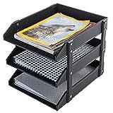 3 Tier Leatherette Desktop Document Organizer Trays, File Folder Storage Rack, Black