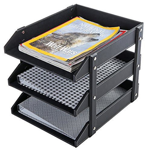 3 Tier Leatherette Desktop Document Organizer Trays, File Folder Storage Rack, Black - Leather Mail Organizer