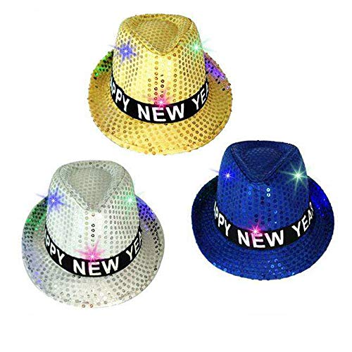 Happy New Years Eve Light-UP Sequins Fedora,Party Hats,9 Color Available (3-Color/01, 3)
