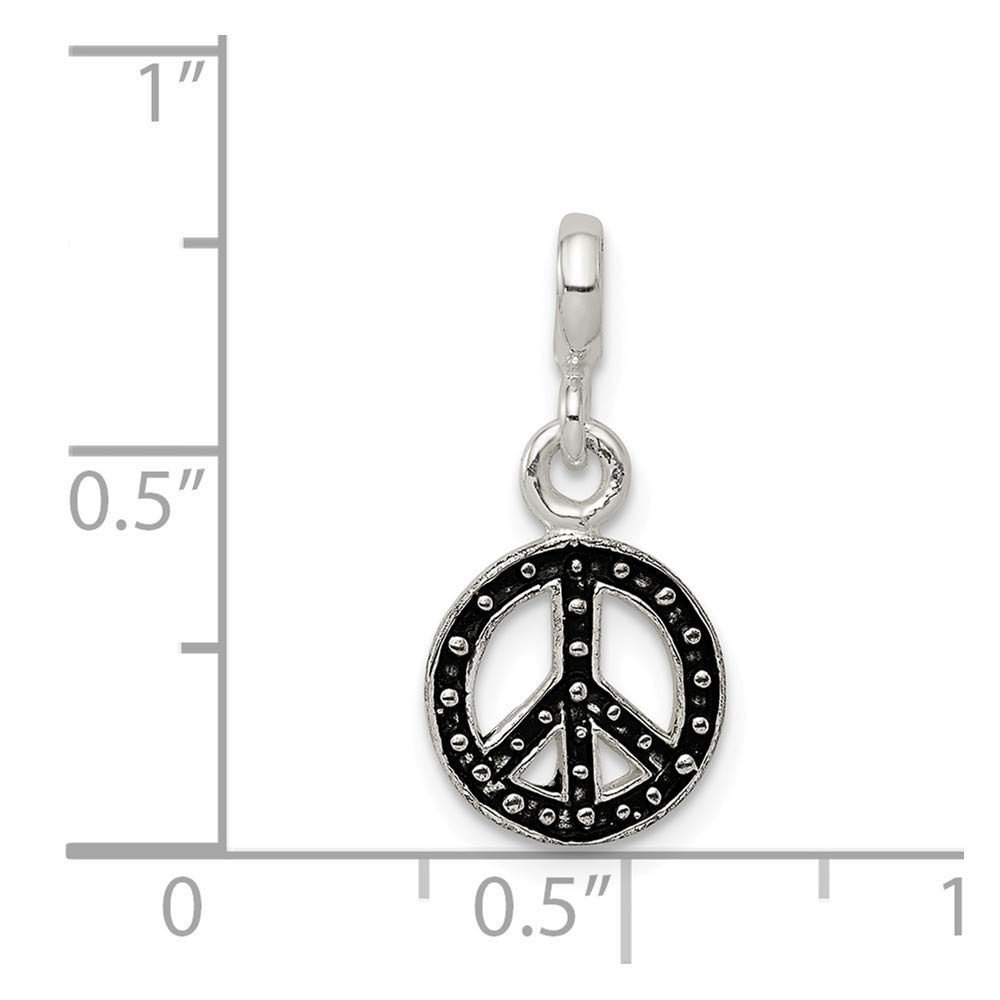 21mm x 10mm Solid 925 Sterling Silver Small Charm Pendant Enameled Peace Sign Symbol Enhancer
