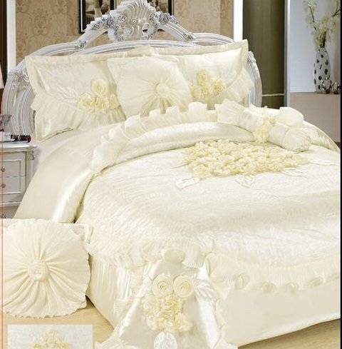 Tache 6 Piece Solid Floral White Sweet Victorian Satin Comforter Set, Queen by Tache Home Fashion