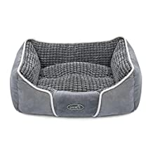 "Pecute Deluxe Pet Bed for Cats and Small Medium Dogs Rectangle Cuddler with Soft Detachable Cushion Grey (M 20.8"" x 24.8"" x 8.2"")"