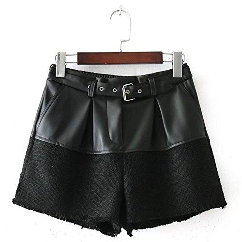 Doris Batchelor Trendy Vintage PU Leather Patchwork Shorts Women Europe Sashes Pocket Elastic Waist Ladies Casual Short free shipping