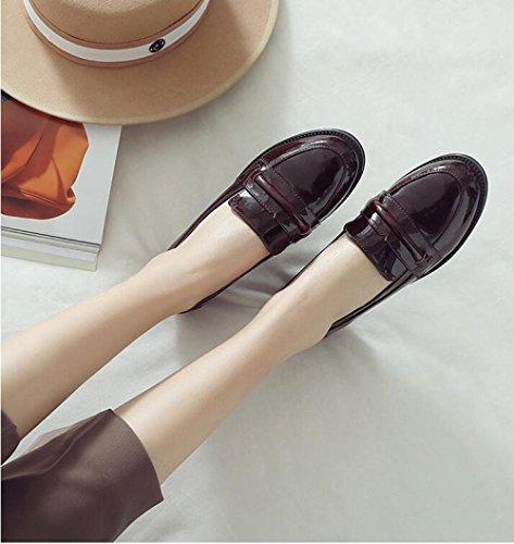 ZFNYY Estudiante de Charol Universidad de de Zapatos de Plana Mujer Retro Viento Zapatos la Baja Cuero Boca de rUCwrB5qg