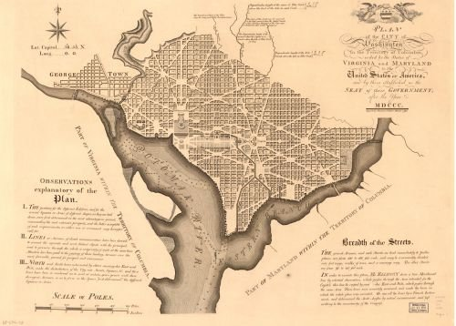 1792 | 1886 Map Plan of the city of Washington in the territory of Columbia : ceded by the states of Virginia and Maryland to the United States of America, and by them established as the seat of their (50th Wedding Anniversary Seafood Gift Baskets)