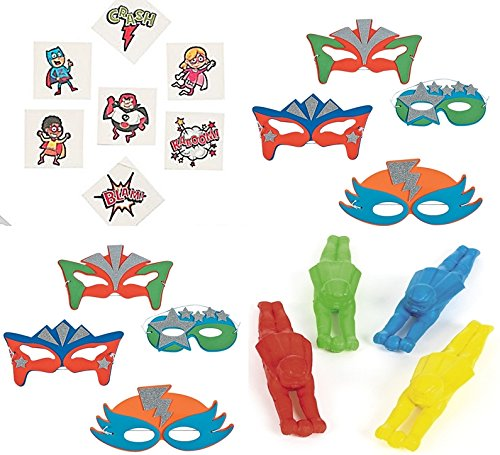 Superhero Party Favor Pack- 12 - Glitter Superhero Masks, 12